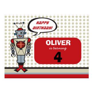 Cartoon Retro Robot Cute Kids Boy Birthday Party Postcard