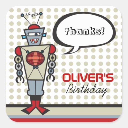 Cartoon Retro Robot Cute Kids Boy Birthday Party Square Sticker