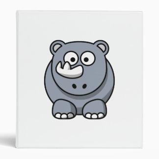 Cartoon Rhino 3 Ring Binder