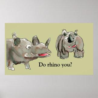 Cartoon Rhino Custom Poster Print