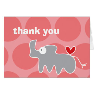 Cartoon Rhino Kid's Birthday Thank You Note Card