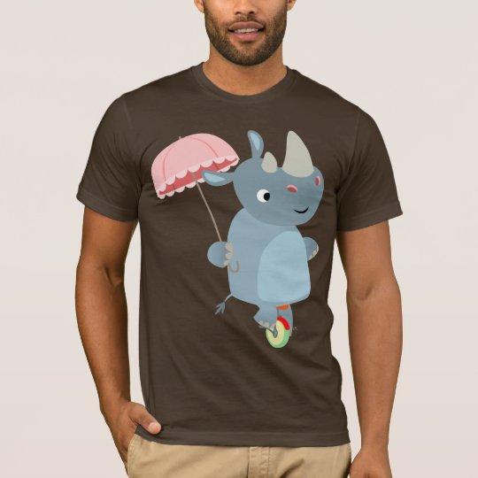 Cartoon Rhino with Umbrella on Unicycle T-Shirt