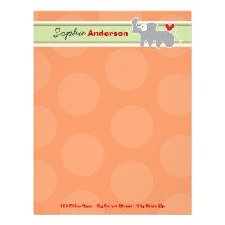 Cartoon Rhinoceros Fun Personal Custom Letterhead