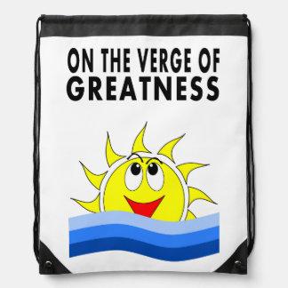 Cartoon Rising Sun Over Water Drawstring Backpack