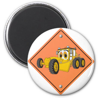 Cartoon Road Grader Sign Magnet