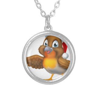 Cartoon Robin Bird in Santa Christmas Hat Silver Plated Necklace