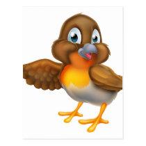 Cartoon Robin Bird Pointing Wing Postcard