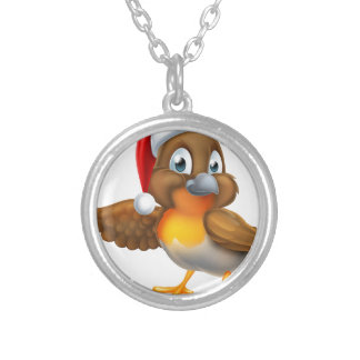 Cartoon Robin in Christmas Santa Hat Silver Plated Necklace