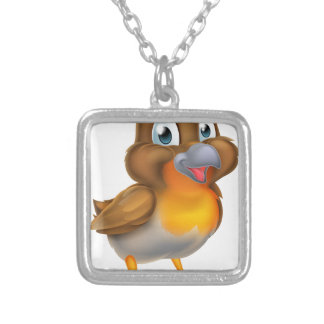 Cartoon Robin Silver Plated Necklace