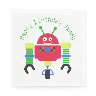 Beach Themed Cartoon Robot Birthday Party Paper Napkins