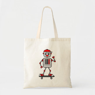 Cartoon Robot Boy with red buttons on Skateboard Tote Bag