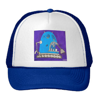 cartoon robot trucker hat