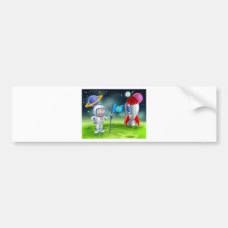 Cartoon Rocket Astronaut Scene Bumper Sticker