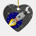 Cartoon Rocket Ceramic Ornament