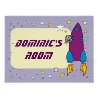 Cartoon Rocket in Space Personalized Posters