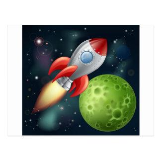 Cartoon rocket in space postcard