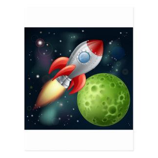 Cartoon rocket in space post card