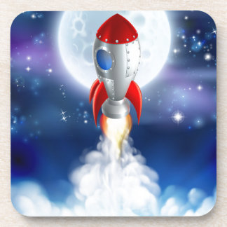 Cartoon Rocket Launch Beverage Coaster