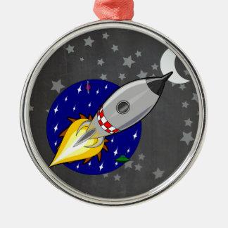 Cartoon Rocket Metal Ornament