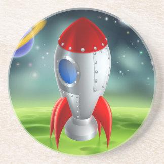 Cartoon Rocket On Alien Planet Drink Coaster