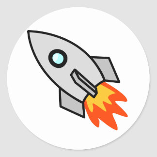 Cartoon Rocket Ship Classic Round Sticker