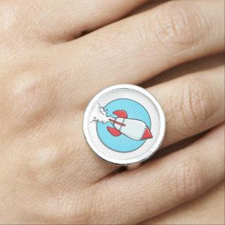 Cartoon Rocket Ship Design Ring