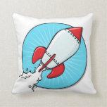 Cartoon Rocket Ship Design Throw Pillows