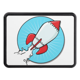Cartoon Rocket Ship Design Tow Hitch Cover