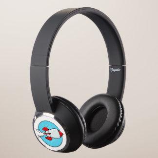 Cartoon Rocket Ship Fun Design Headphones