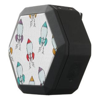 Cartoon Rocket Ship Pattern Black Bluetooth Speaker