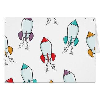 Cartoon Rocket Ship Pattern Card