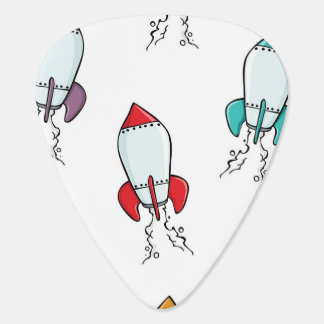 Cartoon Rocket Ship Pattern Guitar Pick
