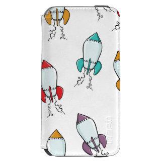 Cartoon Rocket Ship Pattern iPhone 6/6s Wallet Case