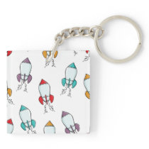 Cartoon Rocket Ship Pattern Keychain