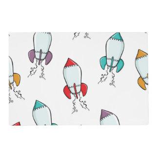 Cartoon Rocket Ship Pattern Placemat