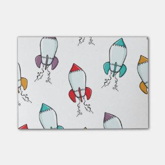 Cartoon Rocket Ship Pattern Post-it Notes