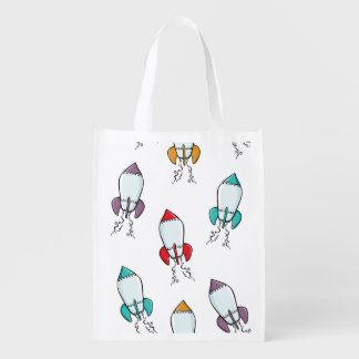 Cartoon Rocket Ship Pattern Reusable Grocery Bag