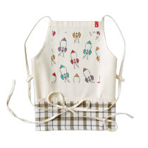 Cartoon Rocket Ship Pattern Zazzle HEART Apron