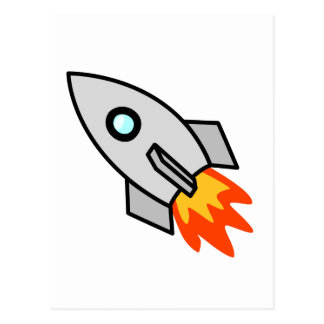 Cartoon Rocket Ship Postcard