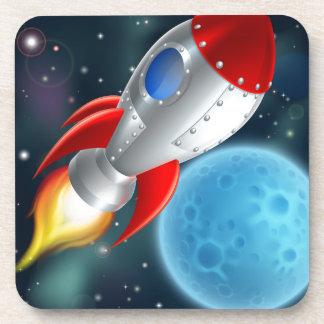 Cartoon Rocket Space Ship Beverage Coaster