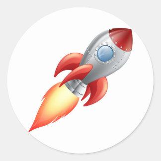 Cartoon rocket space ship round stickers