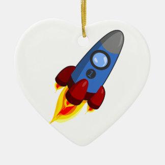 Cartoon Rocketship Ceramic Ornament