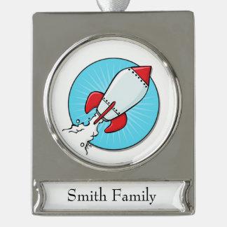 Cartoon RocketShip Design Silver Plated Banner Ornament