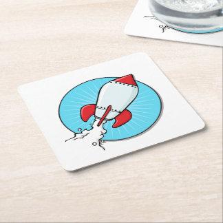 Cartoon RocketShip Design Square Paper Coaster