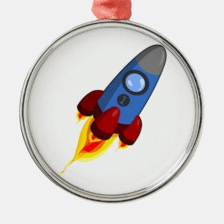 Cartoon Rocketship Metal Ornament