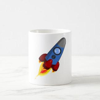 Cartoon Rocketship Classic White Coffee Mug