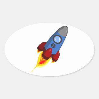 Cartoon Rocketship Oval Sticker