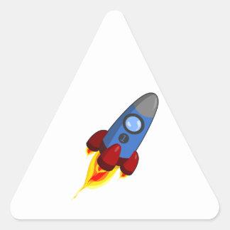 Cartoon Rocketship Triangle Sticker
