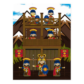 Cartoon Roman Centurion Soldiers at Fort Postcard