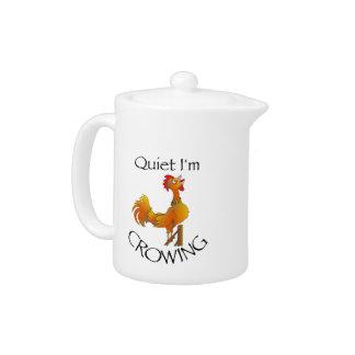 Cartoon Rooster crowing Teapot